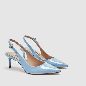 Zara Powder Blue Kitten Heel Patent Slingbacks 9